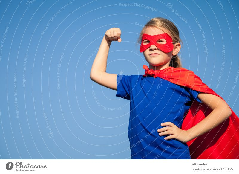 Happy little child playing superhero. Human being Child Sky Vacation & Travel Blue Summer Beautiful Hand Red Joy Lifestyle Funny Emotions Family & Relations