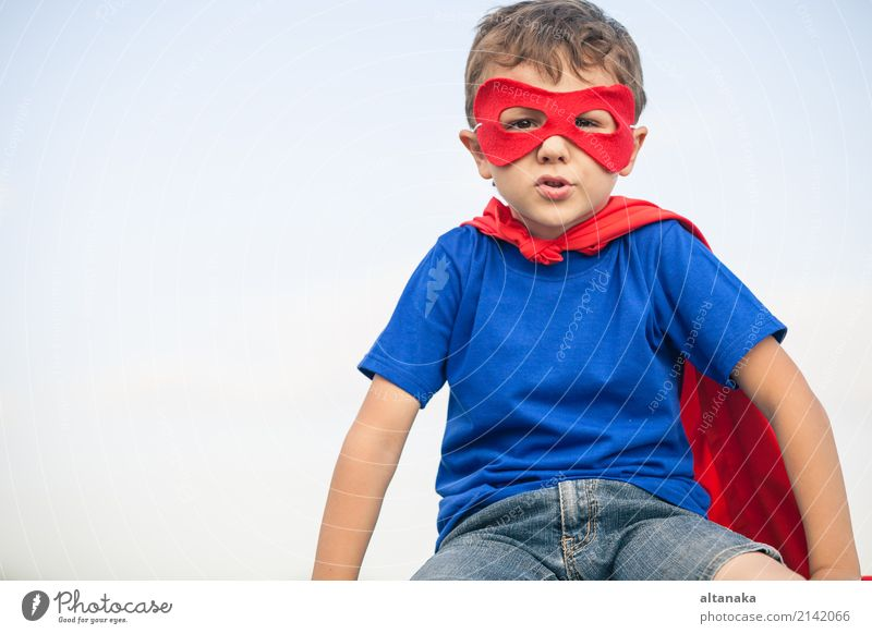 Happy little child playing superhero. Human being Child Sky Vacation & Travel Blue Summer Beautiful Hand Red Joy Lifestyle Funny Emotions Boy (child)