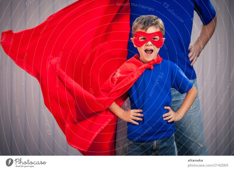 Father and son playing superhero at the day time. Child Vacation & Travel Man Summer Red Joy Adults Lifestyle Emotions Boy (child) Family & Relations Playing