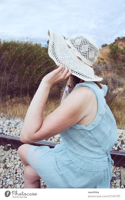 Young mysterious woman in a railway Lifestyle Elegant Style Vacation & Travel Tourism Trip Adventure Freedom Human being Young man Youth (Young adults) 1