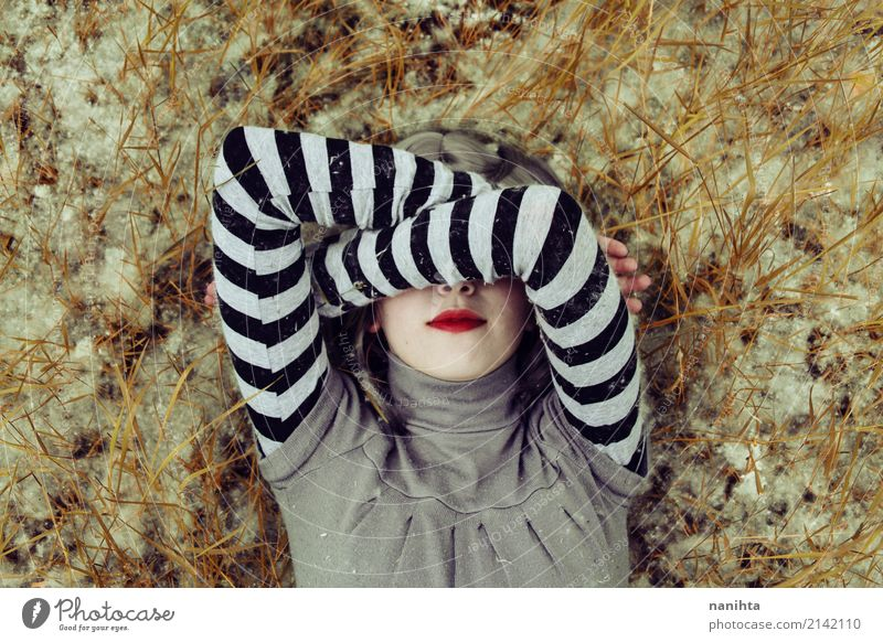 Young woman covering her face with her arms Human being Nature Youth (Young adults) Beautiful 18 - 30 years Face Adults Spring Emotions Feminine Style Grass Art