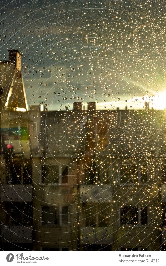 after the rain. House (Residential Structure) Manmade structures Building Apartment house Roof Chimney Gable Wet Rain Window pane Back-light Colour photo