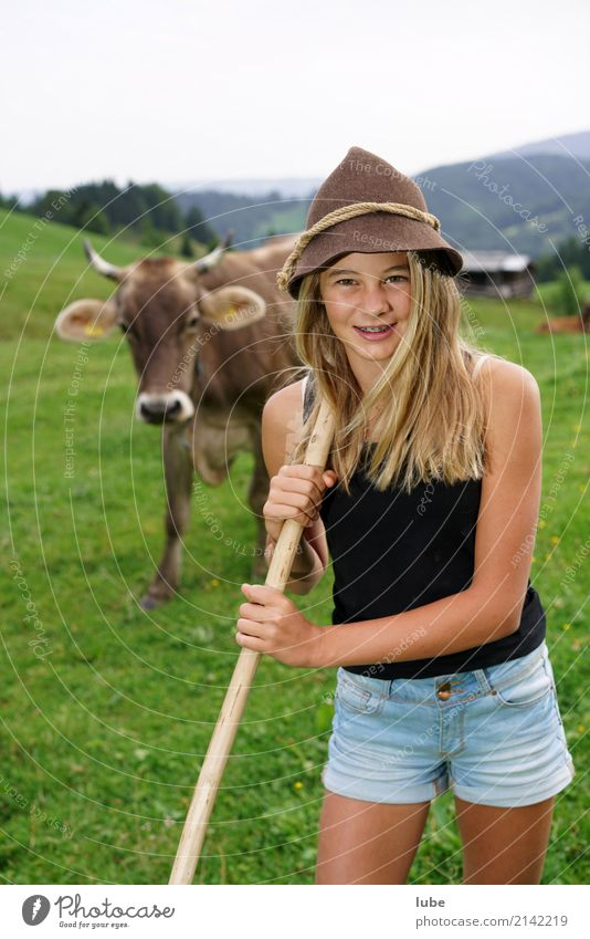 Youth (Young adults) Young woman Animal Joy Girl Happy Contentment Blonde Happiness Friendliness Agriculture Pet Cow Forestry Alpine pasture Livestock