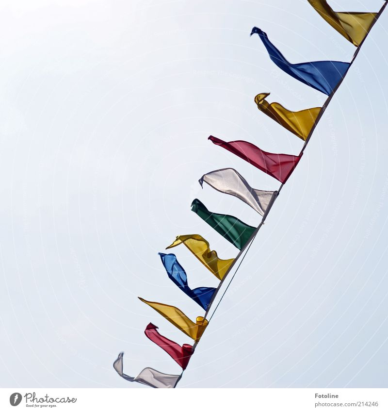 flag in the wind Flag Bright Judder Blow Red Yellow Green Blue Colour photo Multicoloured Exterior shot Deserted Copy Space left Copy Space top Day Sunlight