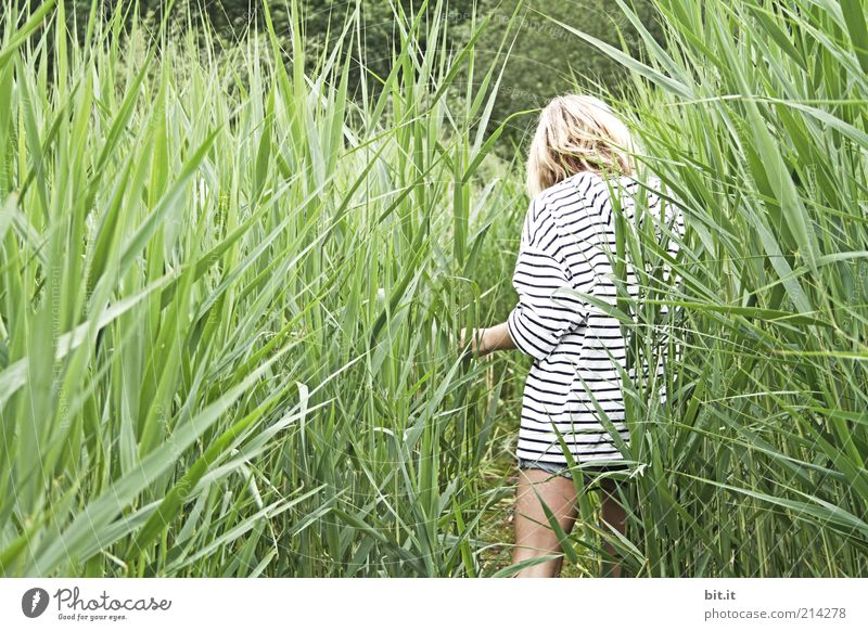 Human being Child Nature Youth (Young adults) Summer Joy Calm Loneliness Relaxation Feminine Grass Happy Legs Park Contentment Blonde