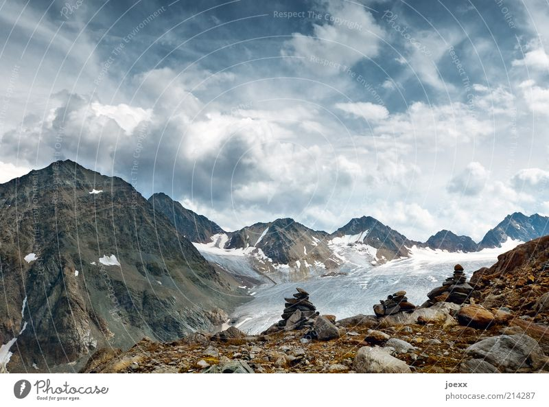 Eternity and transience Mountain Landscape Elements Earth Sky Clouds Summer Beautiful weather Alps Peak Glacier Old Blue Brown Calm Freedom Austria