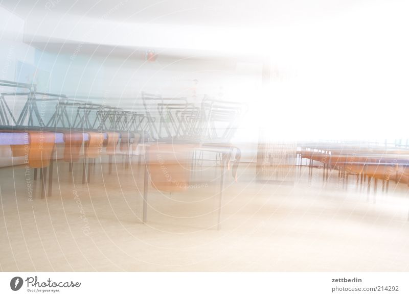 canteen Cafeteria Chair Table Furniture Room dining room Dining hall Empty Deserted Speed Haste Bright Colour photo Interior shot Copy Space top High-key Blur