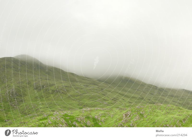 Green and Grey V Vacation & Travel Environment Nature Landscape Elements Clouds Fog Hill Mountain Highlands Natural Gray Moody Calm Scotland Wall of fog