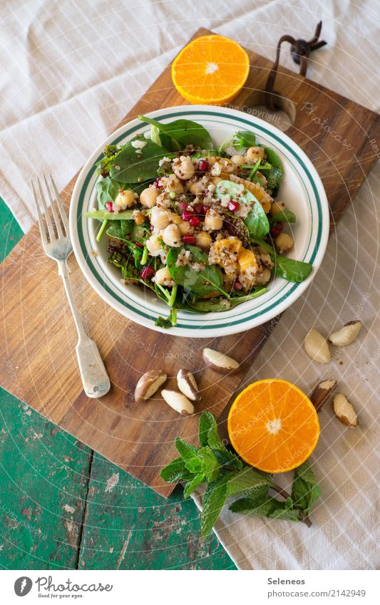 Lunch! Food Vegetable Lettuce Salad Fruit Orange Herbs and spices Mint Mint leaf nuts Lamb's lettuce Spinach Chickpeas Pomegranate Nutrition Organic produce