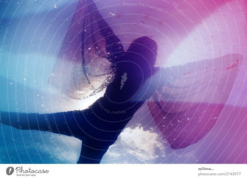 dream dancer Human being Feminine Water Rag Blue Pink Clouds Reflection Flying Dance Dream world Space cadet Colour photo Woman Dancer Fantasy Dream Dance