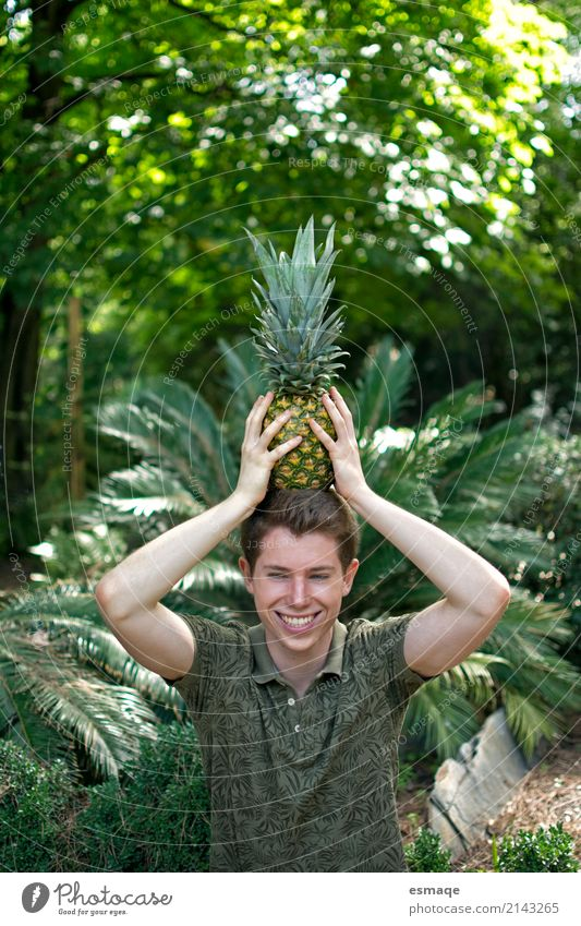 Boy with pinapple funny Human being Nature Youth (Young adults) Plant Young man Landscape Joy 18 - 30 years Adults Environment Lifestyle Healthy Love Laughter