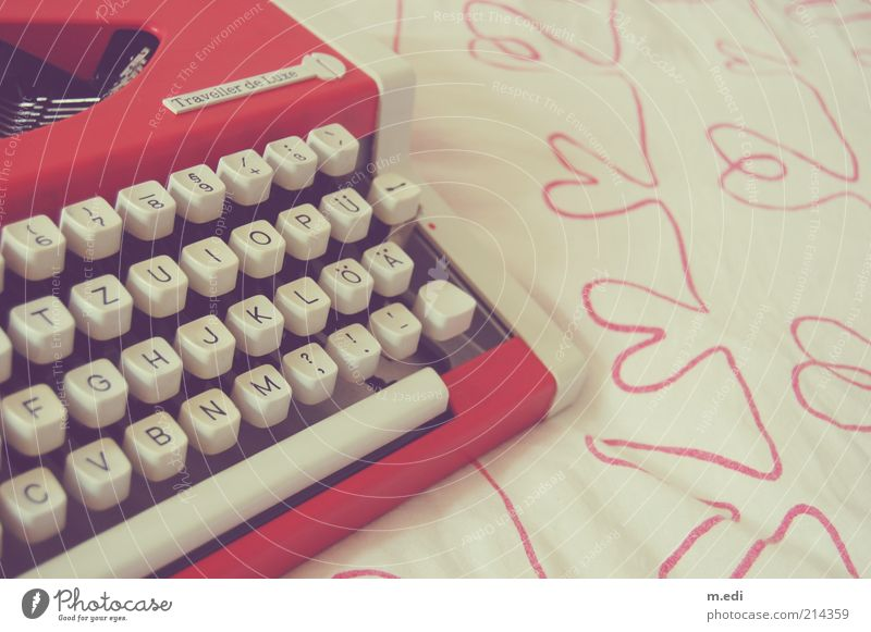 Write again! Old Typewriter Characters Heart Red Colour photo Interior shot Day White Heart-shaped Key Nostalgia Kitsch 1 Cloth Letters (alphabet) Retro