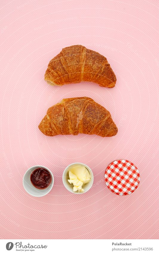#AS# Breakfast Art Esthetic Kitsch Trade Breakfast table Morning break Croissant Jam Butter Pink Delicious Unhealthy Colour photo Multicoloured Interior shot