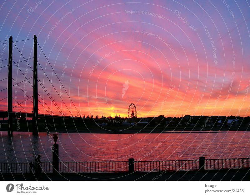 Evening atmosphere on the Rhine near Düsseldorf Sunset Bridge Dusk