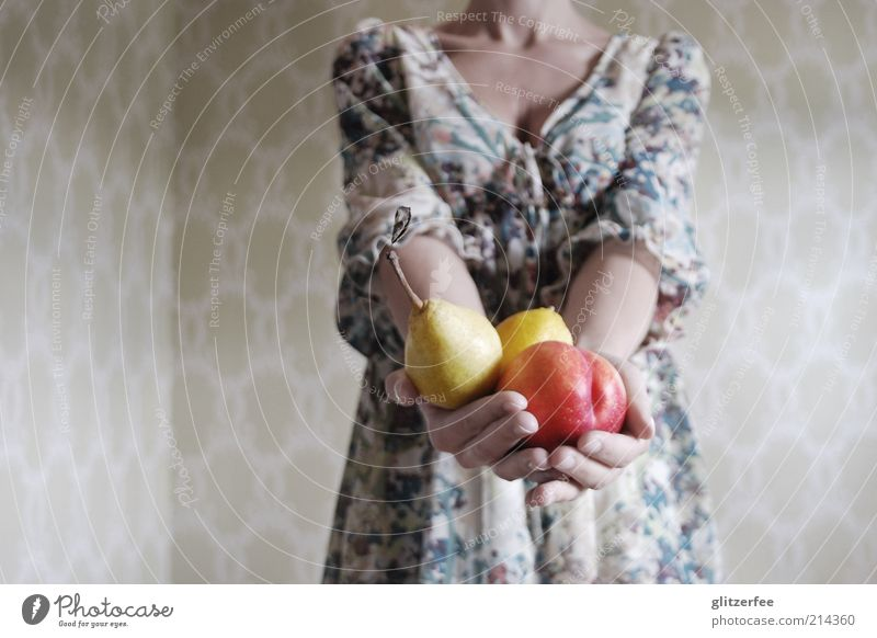 Human being Woman Youth (Young adults) Hand Adults Feminine Life Young woman Healthy 18 - 30 years Fruit Arm Nutrition Fingers Dress To enjoy