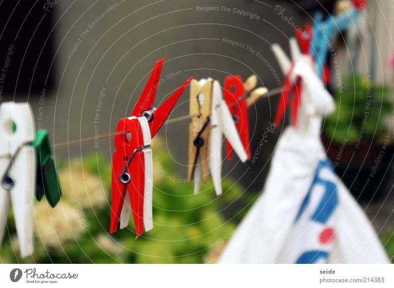 wash the laundry Clothes peg Clothesline Infinity Blue Multicoloured Yellow Red White Colour photo Exterior shot Macro (Extreme close-up) Day