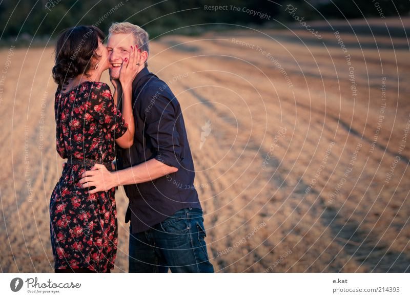 two Joy Happy Human being Young woman Youth (Young adults) Young man Couple Life 2 18 - 30 years Adults Nature Sunlight Summer Field Shirt Dress Kissing Smiling