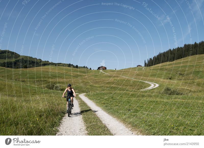 e-bike tour Life Well-being Calm Leisure and hobbies Trip Freedom Cycling tour Summer Mountain Hiking Sports Sporting Complex Feminine Landscape