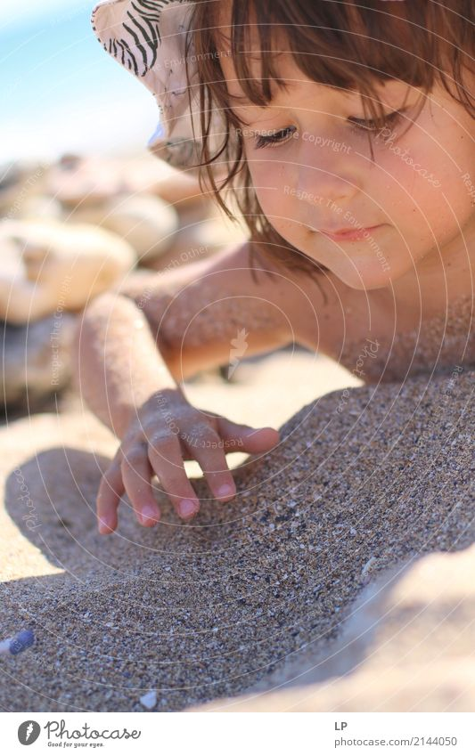 Playing in the sand Lifestyle Joy Contentment Senses Leisure and hobbies Children's game Vacation & Travel Tourism Adventure Summer vacation Sunbathing Beach
