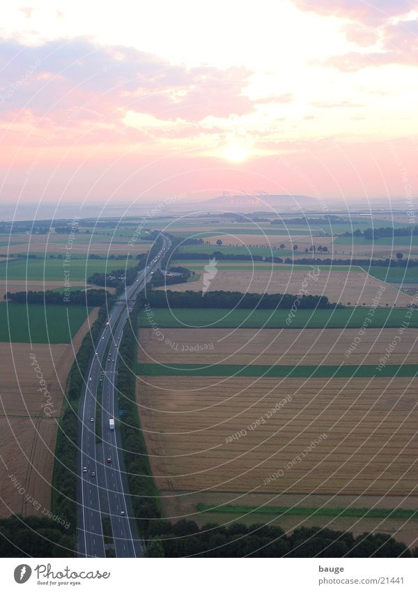 Sunrise over the motorway Highway Niederrhein Lignite Grain Mining Electricity generating station Fog Balloon flight