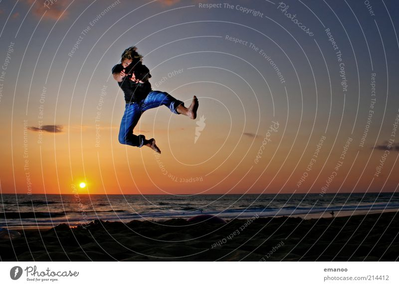 Human being Sky Man Youth (Young adults) Sun Vacation & Travel Ocean Summer Beach Joy Adults Freedom Movement Sand Jump Coast