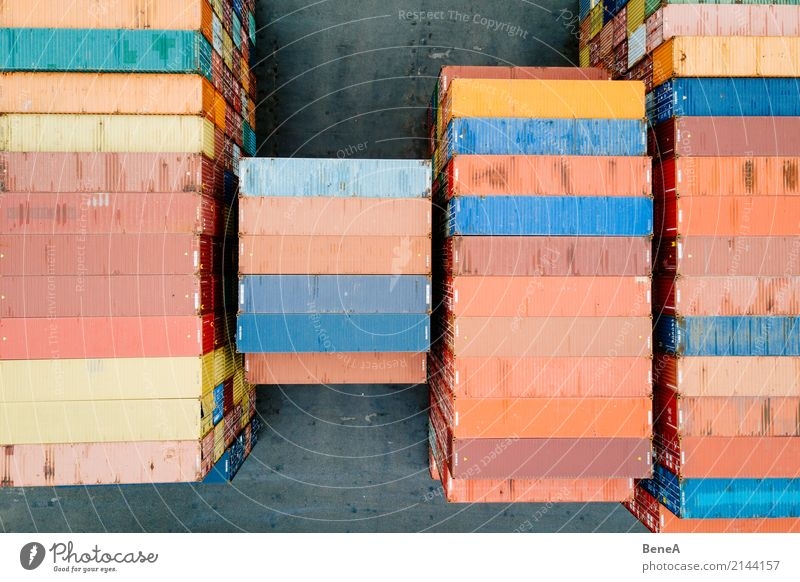 Colorful cargo container in a goods warehouse Economy Industry Trade Logistics Business Success Transport Truck Container ship Freight train Multicoloured