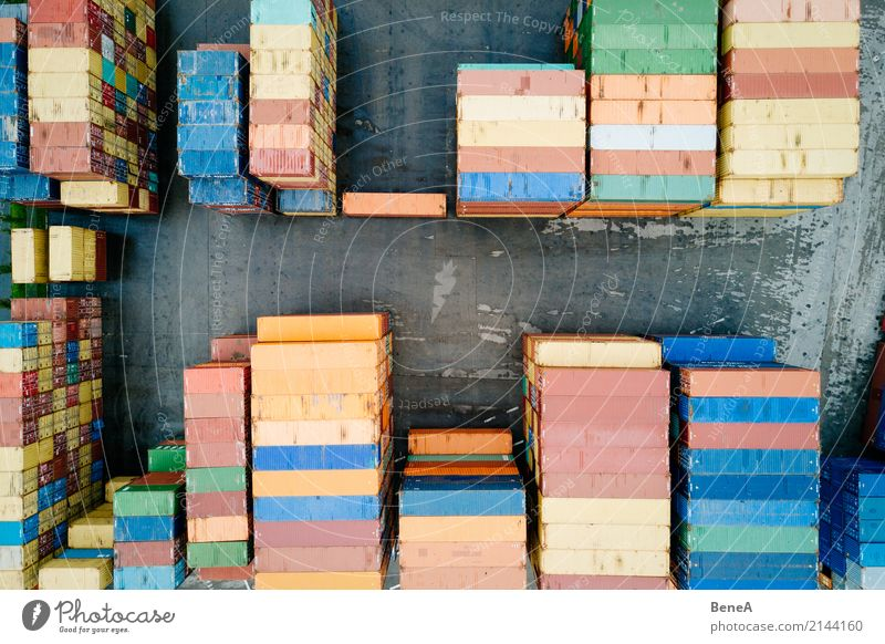 Colorful cargo container in a goods warehouse Construction site Factory Economy Industry Trade Logistics Business Company Technology Truck Container