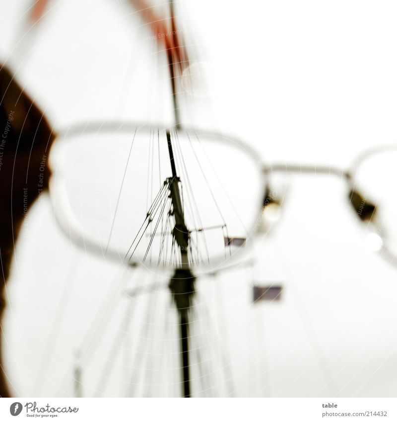 Knick. . . Lifestyle Design Yacht Sailboat Watercraft Rope Mast Flag Eyeglasses Glass Metal Observe To hold on Cleaning Uniqueness Modern Cleanliness Esthetic