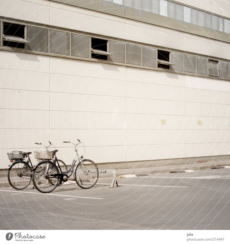 House (Residential Structure) Window Wall (building) Architecture Gray Building Wall (barrier) Bicycle Facade Gloomy Manmade structures Factory Asphalt