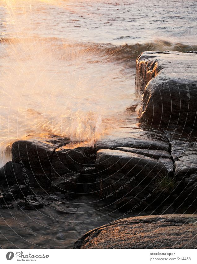 Waves Finnish Finland Coast Rock Water Ocean Drop Spray Light String of islands Scandinavia Storm Wind Wet nobody Landscape scenery Evening Stone block