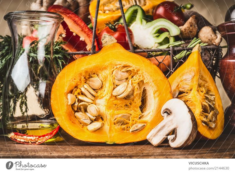 Half pumpkin with seeds and other vegetarian ingredients Food Vegetable Soup Stew Herbs and spices Nutrition Dinner Organic produce Vegetarian diet Diet Style