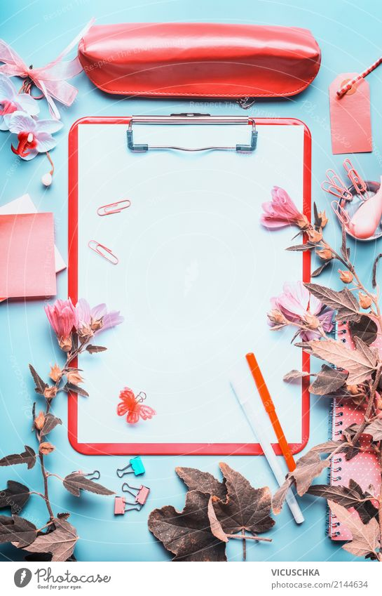 Clipboard with writing accessories and flowers Style Design Education School Study Academic studies Work and employment Office work Business Feminine Stationery