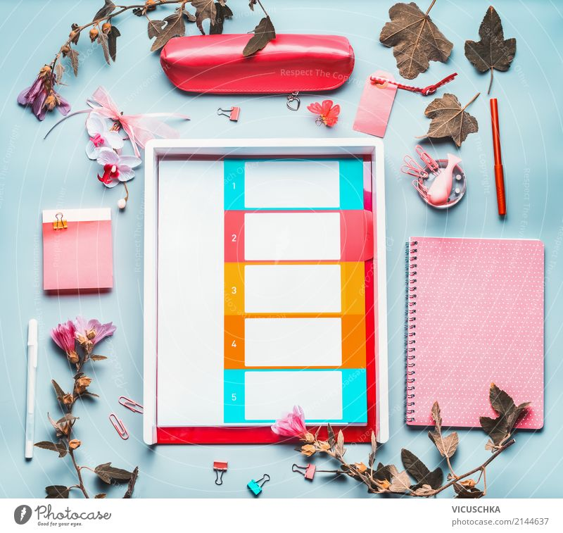Office table with office supplies and flowers Lifestyle Style Design Desk Table Academic studies Work and employment Profession Office work Business Career