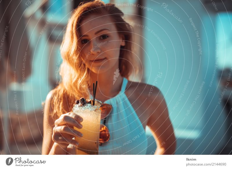 summer drink Beautiful Wellness Life Contentment Relaxation Summer Summer vacation Sun Feminine Young woman Youth (Young adults) 1 Human being 18 - 30 years