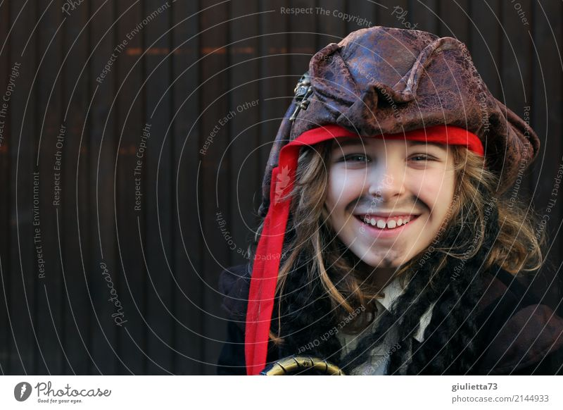 Human being Child Joy Laughter Boy (child) Playing Happy Brown Infancy Blonde Smiling Happiness 8 - 13 years Carnival Hat Facial hair