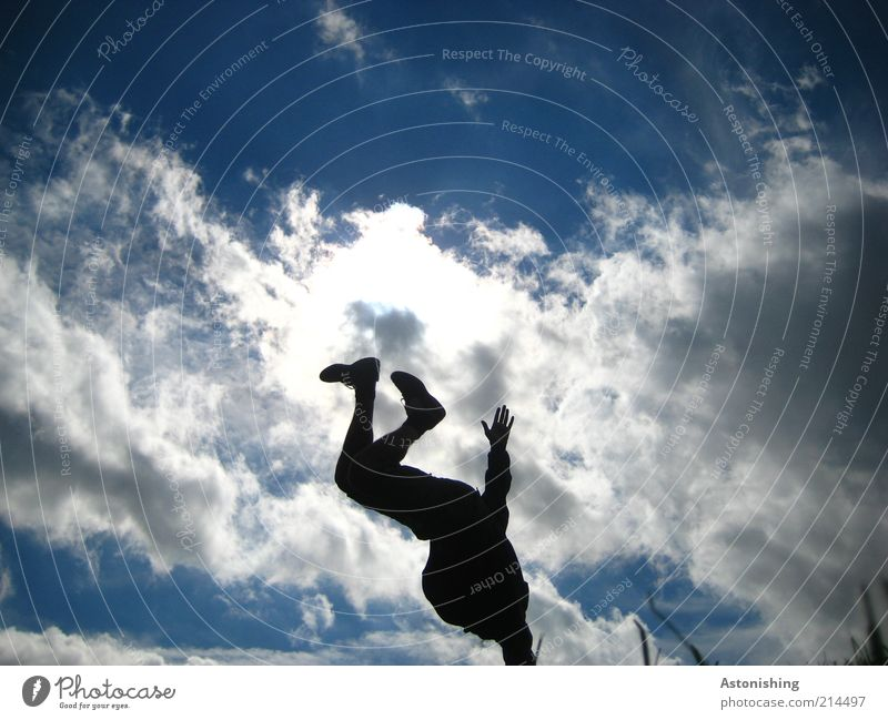 Human being Sky Man Nature Youth (Young adults) Blue Hand White Summer Joy Clouds Black Adults Dark Movement Legs