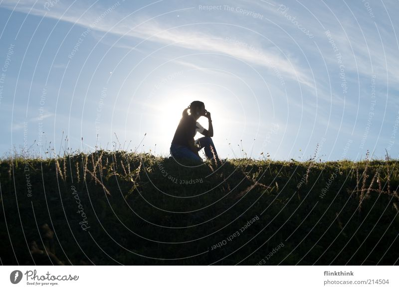 Woman Human being Youth (Young adults) Sky Sun Summer Loneliness Meadow Feminine Above Dream Think Bright Wait