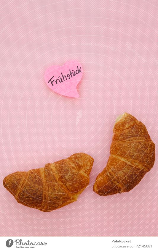 #AS# Good Morning Art Esthetic Breakfast Breakfast table Morning break Display of affection Surprise Pink Piece of paper Declaration of love With love Croissant