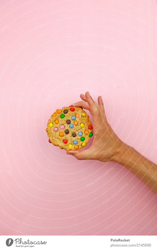 #AS# Cookie? Art Work of art Esthetic cookie Candy Multicoloured Hand To hold on Delicious Baked goods Pink Rich in calories Calorie Point Diet Unhealthy