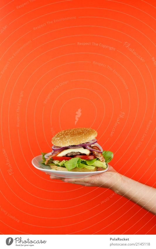 #AS# Burger served Art Work of art Esthetic Hamburger Cheeseburger Fast food Fast food restaurant Delicious Unhealthy Self-made To hold on Red Roll Onion Hand