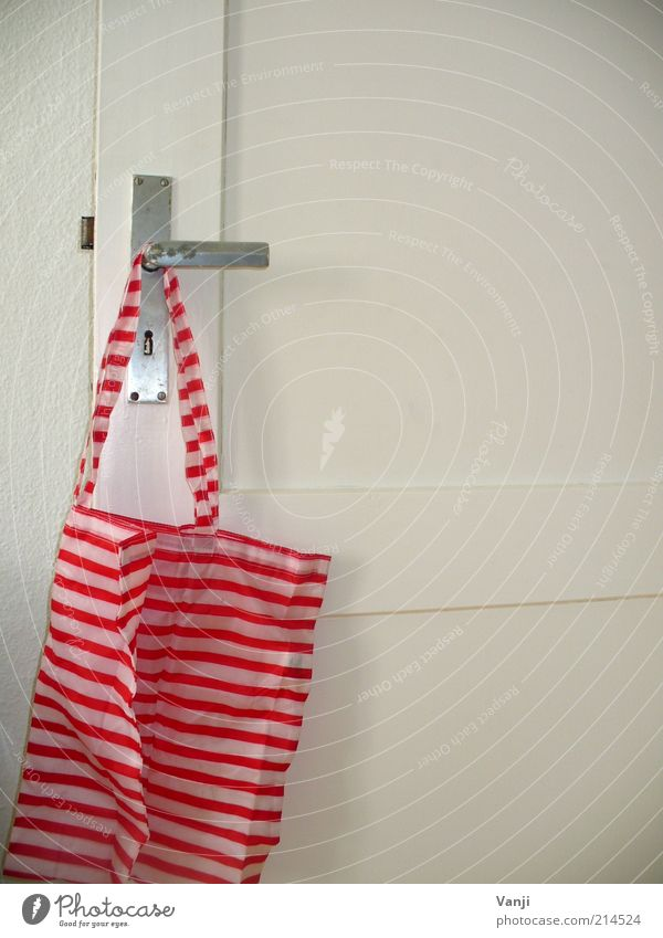White Red Flat (apartment) Happiness Cool (slang) Simple Car door Plastic Bag Hang Striped Pouch Utilize Door lock Shopping bag