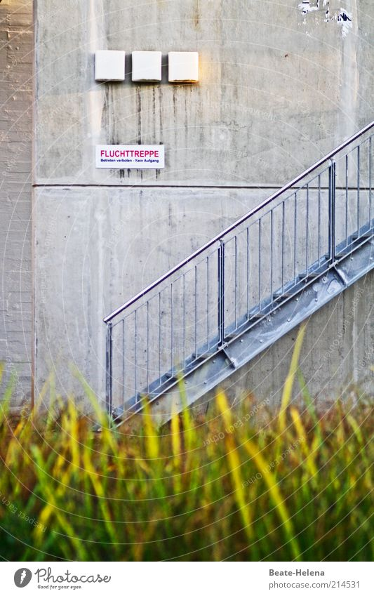 Prohibited escape route Construction site Manmade structures Building Wall (barrier) Wall (building) Stairs Concrete Metal Signs and labeling Signage