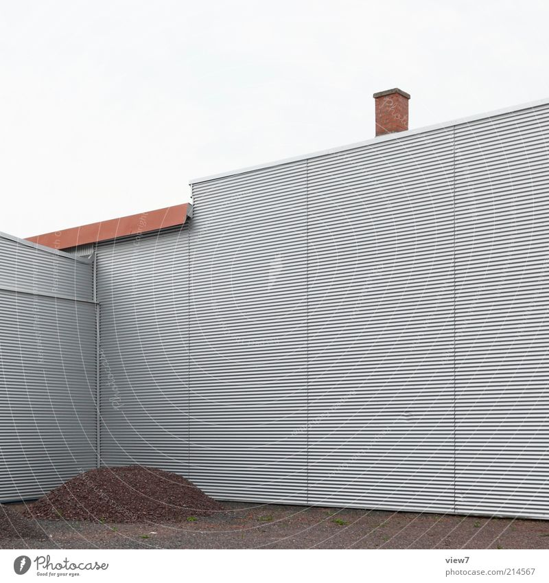 moiré Construction site House (Residential Structure) Industrial plant Wall (barrier) Wall (building) Facade Metal Line Stripe Authentic Exceptional Sharp-edged