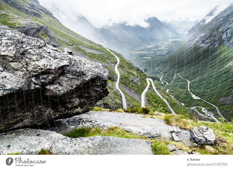 Hairpin curves in Trollstigen Vacation & Travel Adventure Freedom Mountain Hiking Nature Rock Peak Norway Europe Deserted Tourist Attraction Street