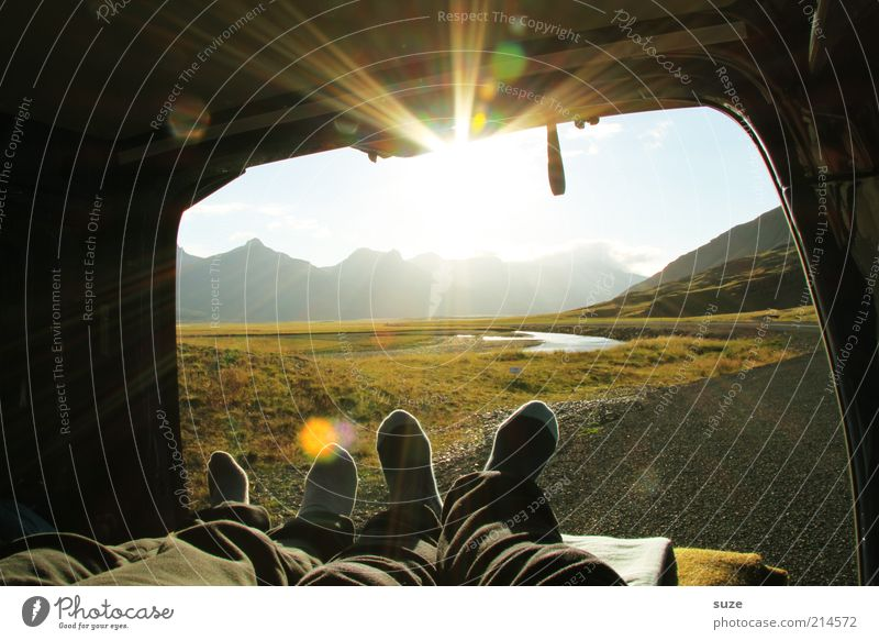 Human being Nature Vacation & Travel Sun Calm Landscape Relaxation Environment Mountain Legs Couple Feet Car Weather Tourism Illuminate