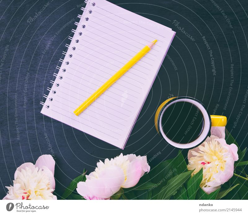 Yellow cup with coffee To have a coffee Beverage Coffee Cup Table Nature Plant Flower Wood Hot Bright Above Retro Pink Black White Pencil notebook blooming