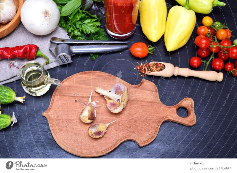 Fresh vegetables for salad Vegetable Herbs and spices Vegetarian diet Diet Juice Glass Kitchen Wood Green Red Black Tomato Cherry pepper background Ingredients