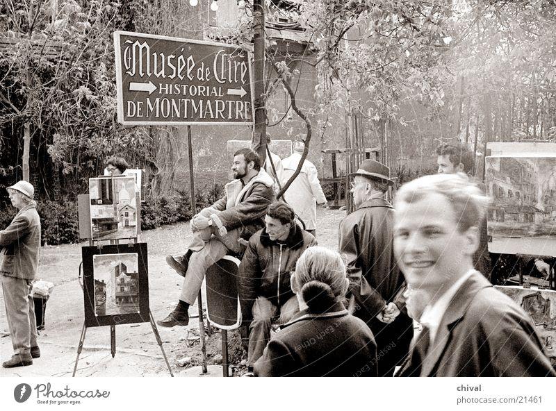 Europe Paris Audience Tourist Painter Pedestrian Exhibition France Montmartre