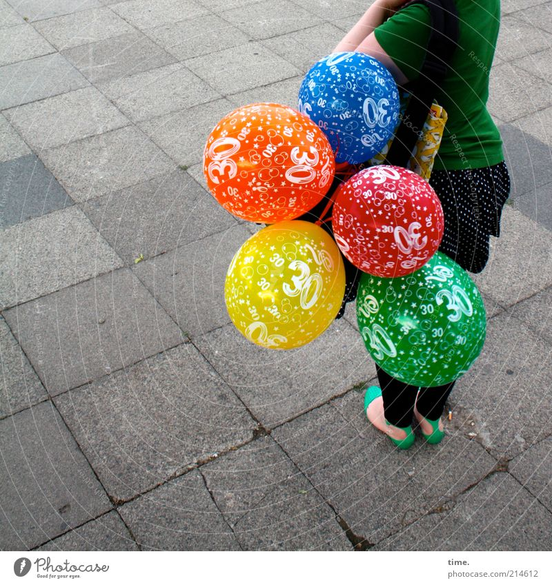Human being Woman Blue Green Red Joy Colour Yellow Street Air Orange Feasts & Celebrations Footwear Wait Birthday Gift