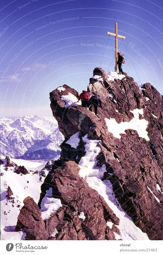point of three countries Hiking Mountaineering Steep Peak Climbing Rock Prongs Back Snow